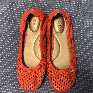 Me Too orange leather flats size 10